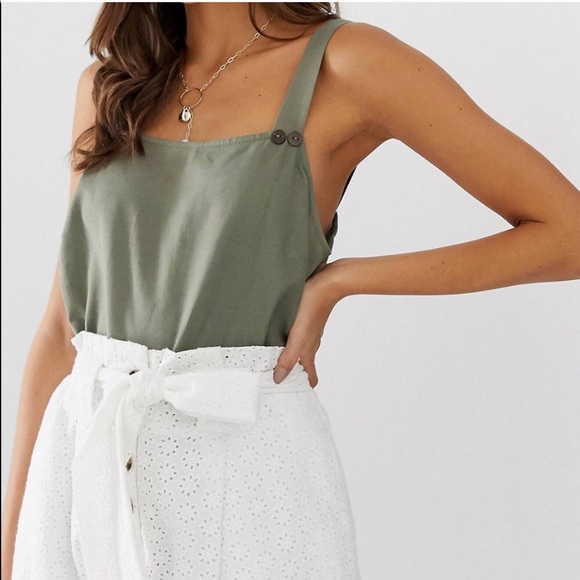 ASOS | Green Linen Button Tank Top 4